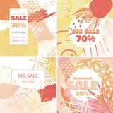 Creative Sale banners with discount offer. Design for seasonal clearance. Trendy 80s-90s memphis style with floral elements. Vector illustration Royalty Free Stock Image
