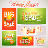 Creative Sale Banners for Holiday celebration. Creative shiny banner set of Big Sale with discount offer for Holiday celebrations Stock Photography