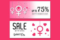 Creative Sale header or banner set with discount offer for Happy Women`s Day celebration.  vector illustration