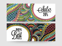 Creative sale website header or banner set. Colorful traditional floral design decorated Sale website header or banner set with 20% and 50% discount offers Royalty Free Stock Photos