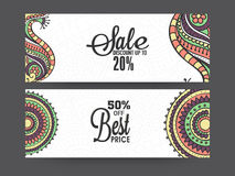 Creative sale website header or banner set. Traditional floral design decorated Sale website header or banner set with 20% and 50% discount offers Stock Photos