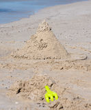 Creative Sand Castle on white sand beach in Busselton Stock Photos
