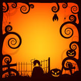 Creative scary background for Halloween Party. Creative Halloween background, Spooky forest view with dead trees and other elements, Glossy greeting or Royalty Free Stock Photography