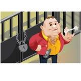 Creative scene, cool businessman locks the door Royalty Free Stock Photography