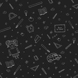Creative school seamless pattern isolated on black background. Stock Photos