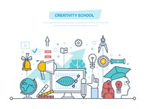 Creative school. Training, creativity distance learning, technology, knowledge, teaching, education. Stock Images