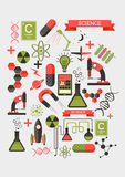 Creative Science Elements. Creative flat vector illustration with various science and chemistry symbols Royalty Free Stock Images