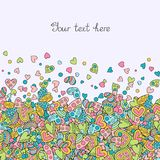Creative Background of Hearts of Pastel Colors. Creative Seamless Background of Hearts of Pastel Colors. Doodle Hand-drawn Template for Romantic Message Vector Illustration