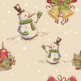 Creative seamless Christmas hand drawn texture. With cute jingle bells, cheerful snowman and burning candle on star backdrop. Vector illustration vector illustration