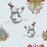 Creative seamless Christmas hand drawn texture. With cute jingle bells, cheerful snowman and burning candle on star backdrop. Vector illustration royalty free illustration