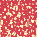Creative Seamless Christmas pattern. Beautiful red retro stylized banner. Vector Royalty Free Stock Photos