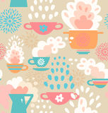 Creative seamless kitchen pattern  Background with cups, teapots, coffee and pan, saucepan. Pots and pans Royalty Free Stock Photos
