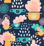 Creative seamless kitchen pattern  Background with cups, teapots, coffee and pan, saucepan Royalty Free Stock Photography