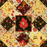 Creative seamless patchwork pattern with flowers Royalty Free Stock Photography