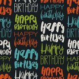 Creative seamless pattern with birthday greetings. Colorful handdrawn lettering Happy Birthday on black. Modern ink calligraphy. For packaging paper Royalty Free Stock Photo