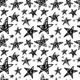 Creative Seamless pattern. Black and white stars. Artistic universal background. Hand Drawn textures. Design for poster card invitation header, cover, placard royalty free illustration