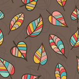 Creative Seamless Pattern with Fall Leaves. Royalty Free Stock Image