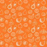 Creative seamless pattern with hand drawn fruits. Stock Image