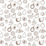 Creative seamless pattern with hand drawn fruits. Royalty Free Stock Photo