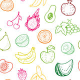 Creative seamless pattern with hand drawn fruits. Stock Photos