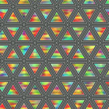 Creative Seamless Pattern of Holographic Triangles of Horizontal. Direction. Continuous Background of Multicolor Geometric Figures Triangles Stock Photo