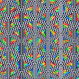 Creative Seamless Pattern of Holographic Triangles. Of Verticalal Direction. Triangular Continuous Background of Multicolor Geometric Figures Stock Image