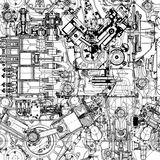 Creative seamless pattern made up of drawings  old motors. Royalty Free Stock Photography