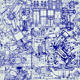 Creative seamless pattern made up of drawings  old motors Stock Photo