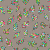 Creative Seamless Pattern with Motley Fall on Light Brown Backdr. Op. Doodle Art Striped Leaves Continued Background for Cloth, Fabric, Textile, Tissue Stock Photography