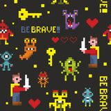 Creative seamless pattern with pixel monsters and brave knights. Royalty Free Stock Photos