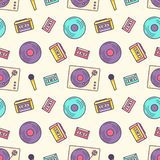 Creative seamless pattern with retro analog music player, cassette recorder, turntable, vinyl disc, microphone on light. Background. Colorful vector vector illustration