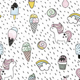 Creative seamless pattern with unicorn, donut, ice cream,rainbow. Doodle childish background. Vector Illustration. Stock Photography