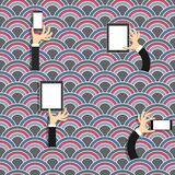 Creative seamless pattern with waves and hands. With gadgets in cartoon style.Vector EPS10 Royalty Free Stock Photos