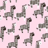 Creative seamless pattern with zebra. Childish texture for fabric, textile. Vector background Stock Images