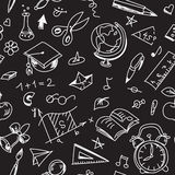 Creative seamless school pattern with calk drawings on blackboard Stock Images