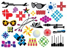 Creative set #16. Various design elements: sunglasses, patterns and forms Stock Images