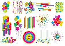 Creative set #7. Assorted decorative design elements: stars, balloons, circles and other shapes and textures Royalty Free Stock Photos