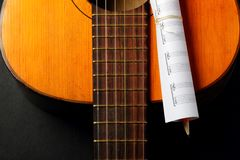 Acoustic guitar, blank music notes, pencil. Creative set of acoustic guitar, blank music notes and pencil Royalty Free Stock Photos