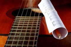 Acoustic guitar, blank music notes, pencil. Creative set of acoustic guitar, blank music notes and pencil Stock Photography