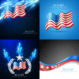 Creative set of american flag backgrounds. Vector creative set of american flag design background with fireworks Stock Image
