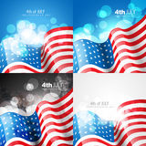 Creative set of american flag design of 4th july independence da Royalty Free Stock Photo