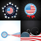 Creative set of american flag design of 4th july independence Royalty Free Stock Images