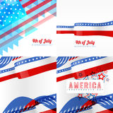 Creative set of american independence day background Stock Images