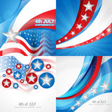 Creative set of american independence day background. Vector set of american independence day flag design background illustration Stock Photos