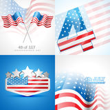 Creative set of american independence day background. Vector set of american independence day background illustration with american flag Stock Photos