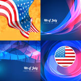Creative set of american independence day background. Vector  set of american independence day background illustration with pattern Stock Photography