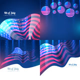 Creative set of american independence day background. Vector creative set of american independence day with creative style pattern Stock Image