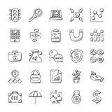 Creative Set Of Banking And Finance Icons. A pack of banking and finance doodles with numerous icons related to safety, money, dollars, lockers, protection of Stock Photos