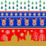 Creative set of Christmas patterns. Trees, golden stars, winter city landscape. Decoration for textile design, cards, party invitation, packaging stock illustration