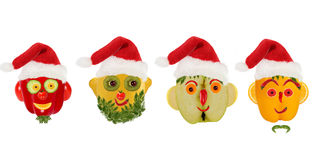 Creative set of food concept. Few  funny portraits of a Santa Cl Stock Photo